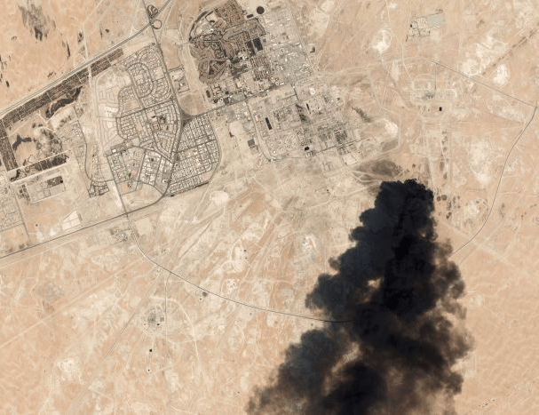 Saudi Drone Attack Seen From Satellite